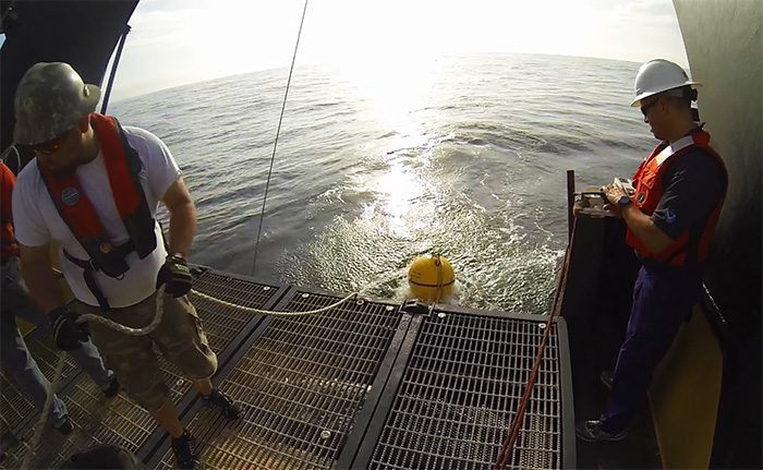 hydrophone being deployed